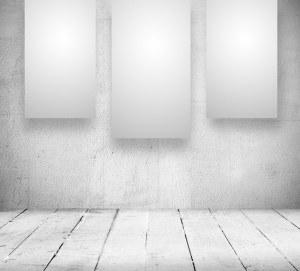 banners blank oude unbelegte bianco banner galerij alten fahnen raum weissen einem lege ruimte witte een sul interior scaffale parete