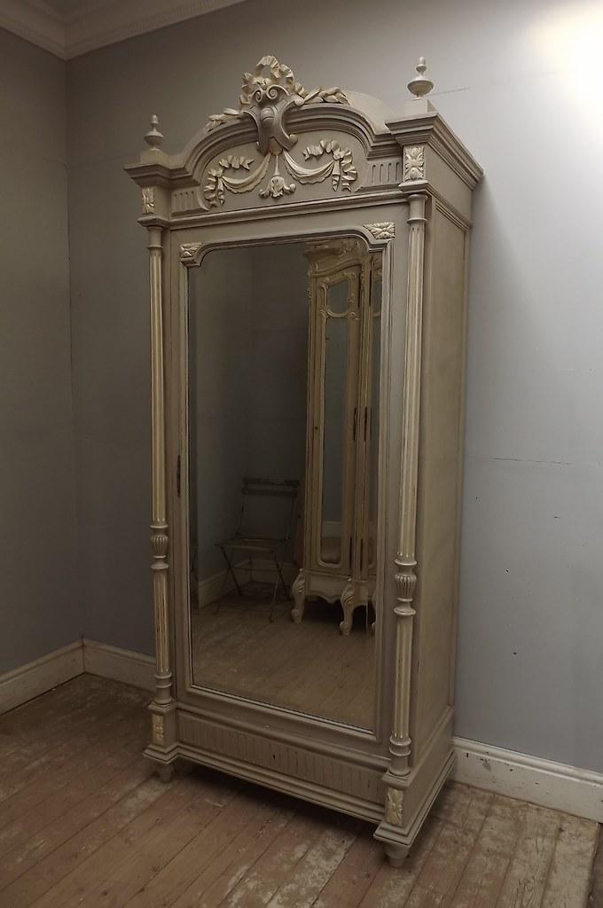 Antique French Louis XVI Single Door Armoire Shabby Chic B