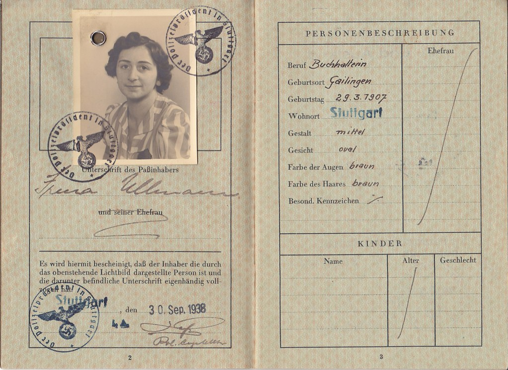 Irma Ullmanns German Passport Deutsches Reich Reisepass