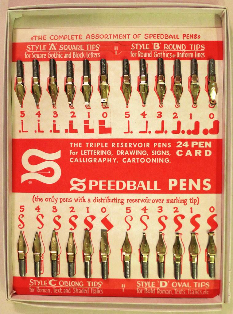 Speedball 24 Pen Card  The triple reservoir pens for