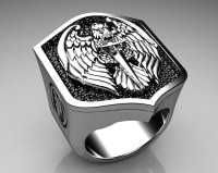 Unique Mens Ring Eagle Shield Ring Sterling Silver with Bl ...