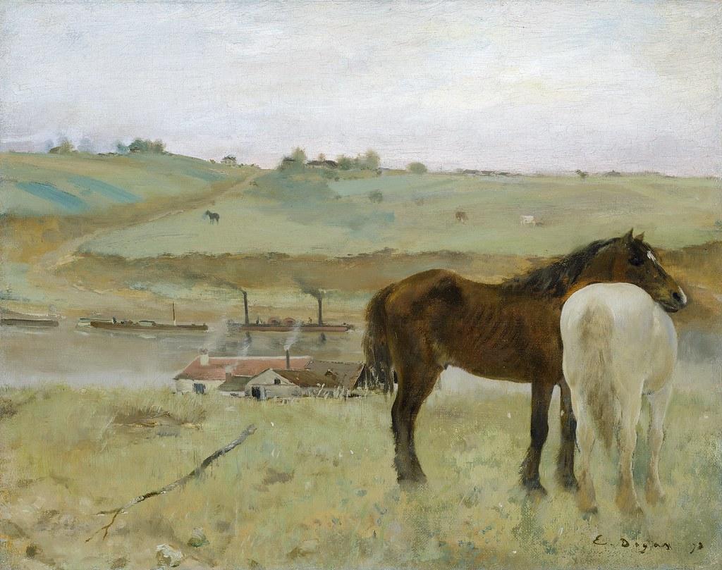 Edgar Degas  Horses in a Meadow 1871  Oil on canvas 31  Flickr
