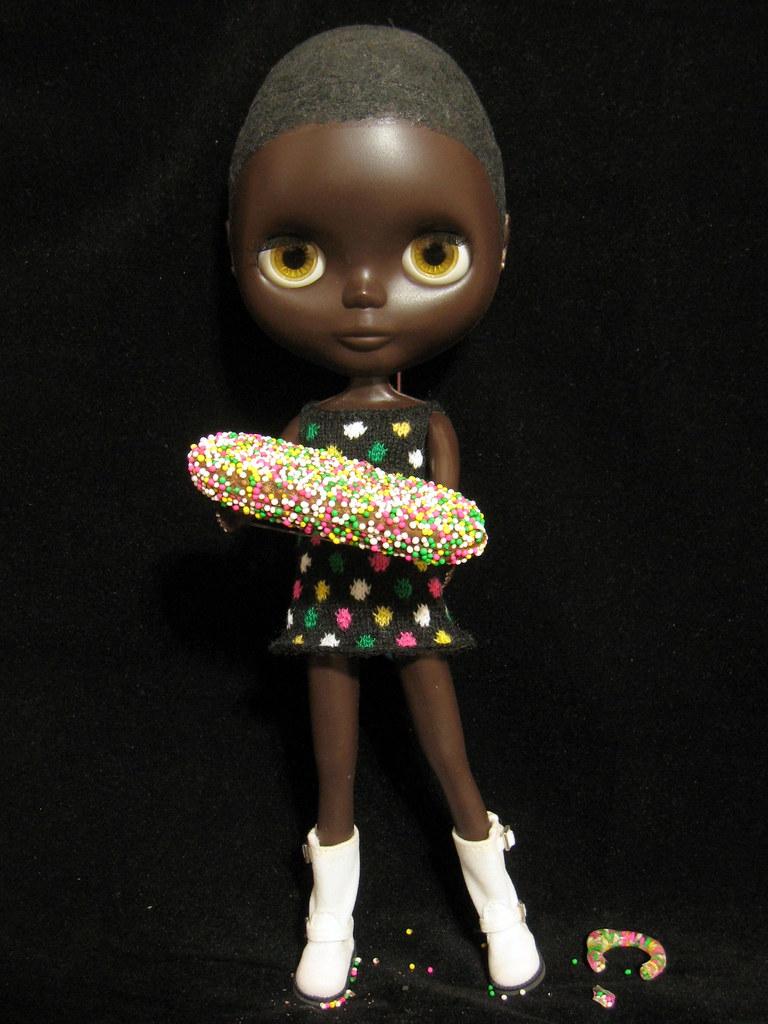 Doa Pepa  Pepita holds her namesake chocolate Doa Pepa