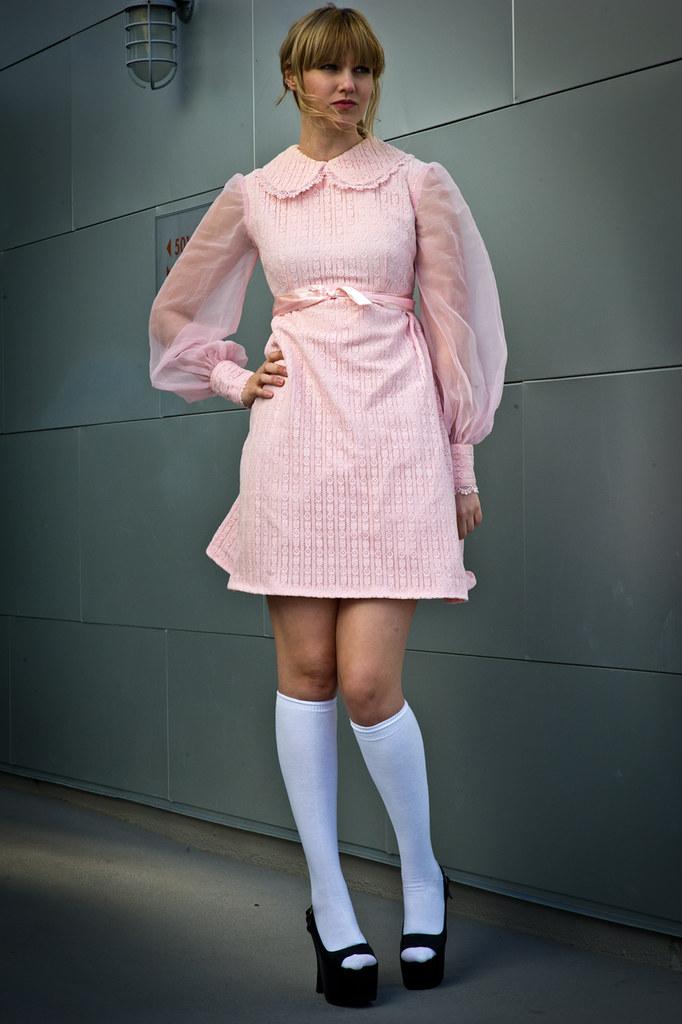 pink lace mod dress with peter pan collar  pink lace mod