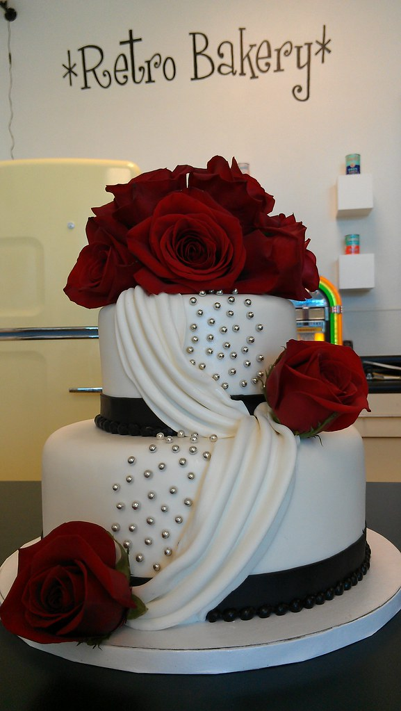 Two Tier Draped Fondant And Roses Cake Custom Cakes MUST