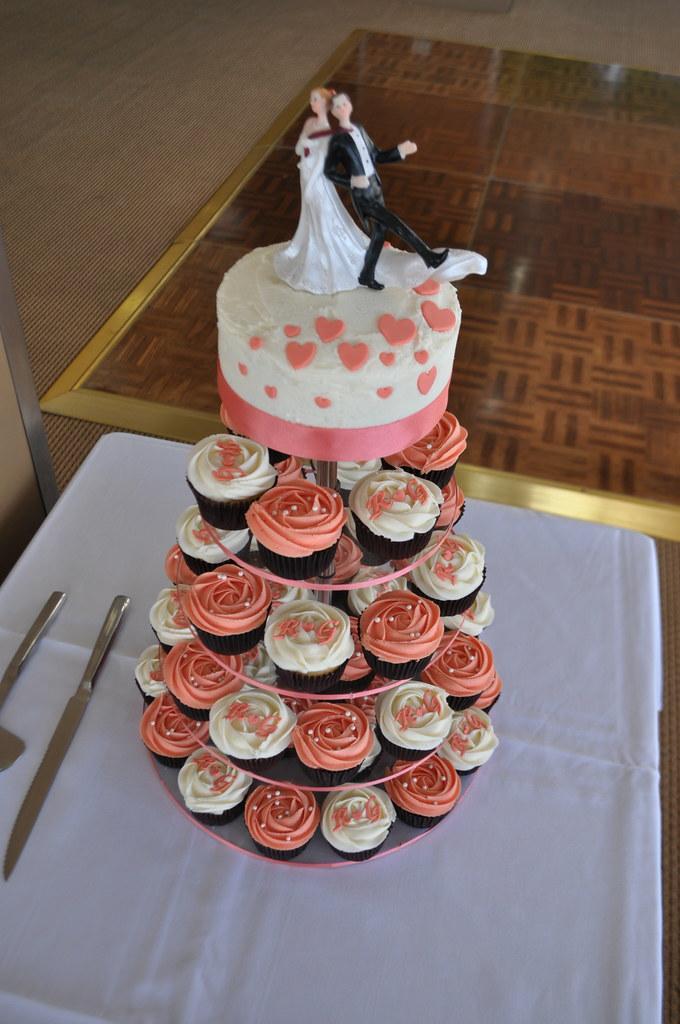 Coral And Cream Wedding Cupcakes Jaffa Mud And Raspberry