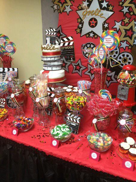 Hollywood Themed Candy Buffet Table  florasantiago2002