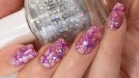 Manicure Manifesto: Purple And Orange Floral Stamped Nail Art