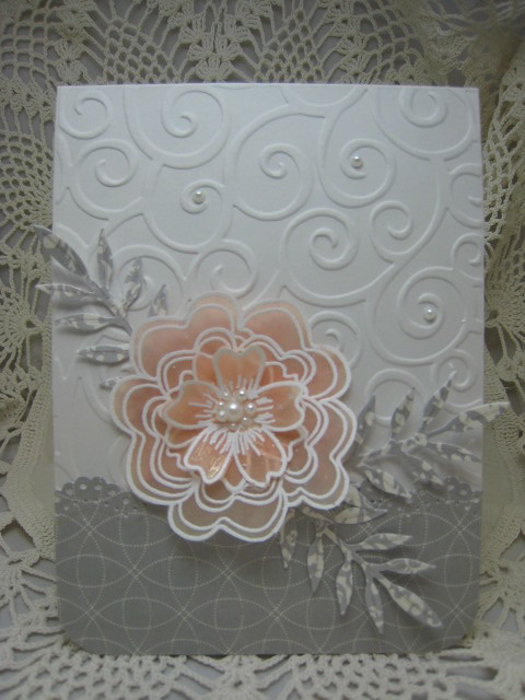 Wedding Card  HA layered flower stamped on vellum and