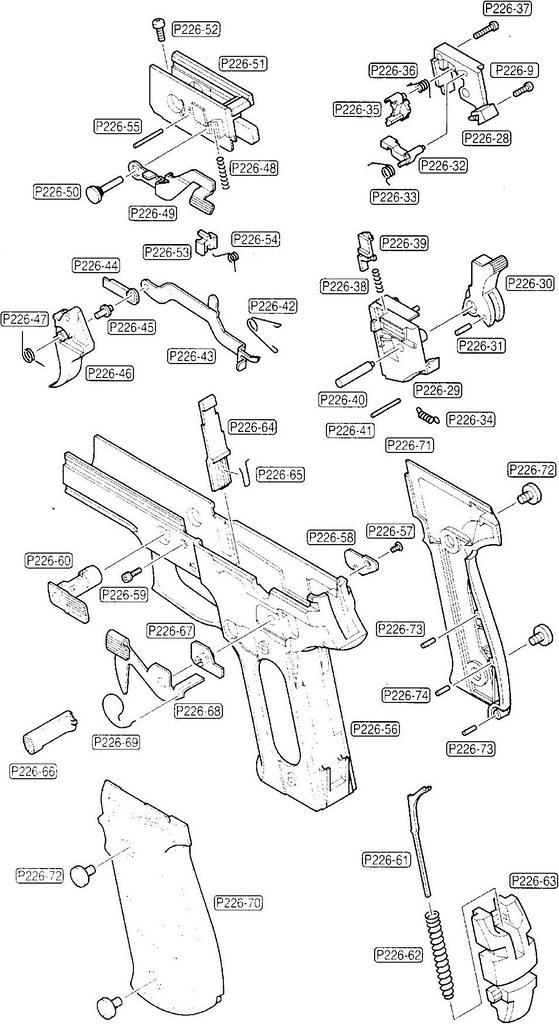 Tokyo Marui SIG Sauer P226 Parts Diagram (Frame Assembly