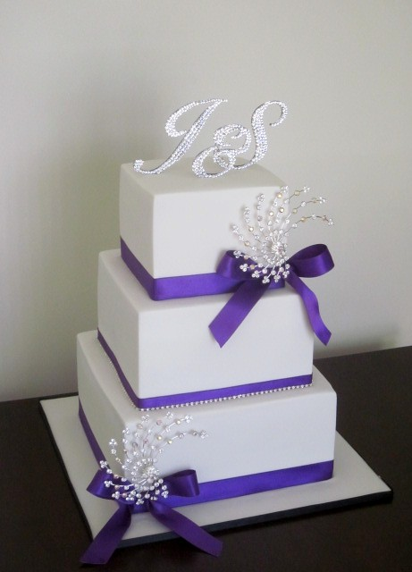 White and Purple Bling Wedding Cake  Congratulations to Sta  Flickr