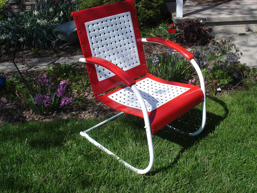 Retro Lawn Chairs Rare Vintage Lawn Chair New Paint Cb160 Guy Flickr