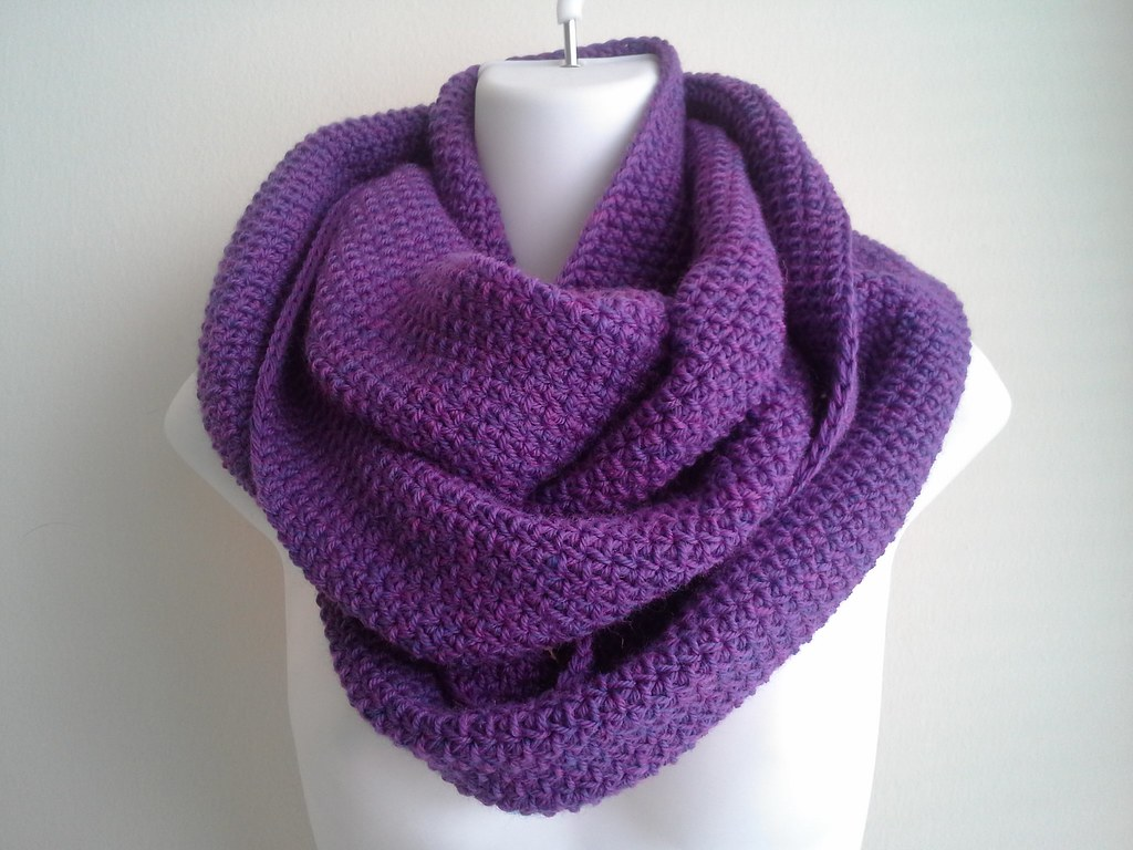 purple heather pure wool infinity scarf  i had a lot of woo  Flickr