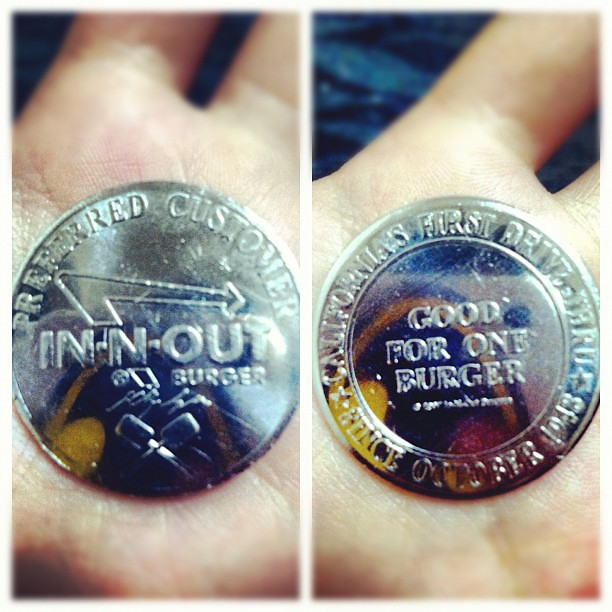 They have InNOut burger coins You get one FREE burger  Flickr