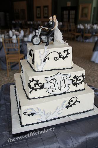 Black And White Harley Wedding Cake The Bride And Grooms