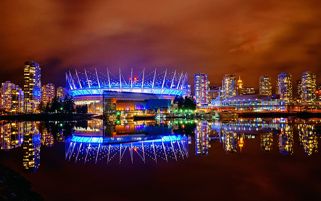 Niagara Falls Night Wallpaper Photos Vancouver Bc Place In Blue At Night Flickr Photo Sharing