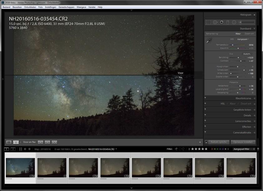 Stap 1 - bewerk een van de acht foto's in Lightroom tot het gewenste uiterlijk. Sterrenfotografie zonder ruis