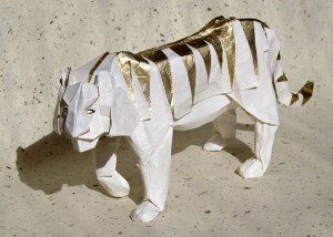 tiger | Diagram by Hideo Komatsu Folded by me Kozo paper