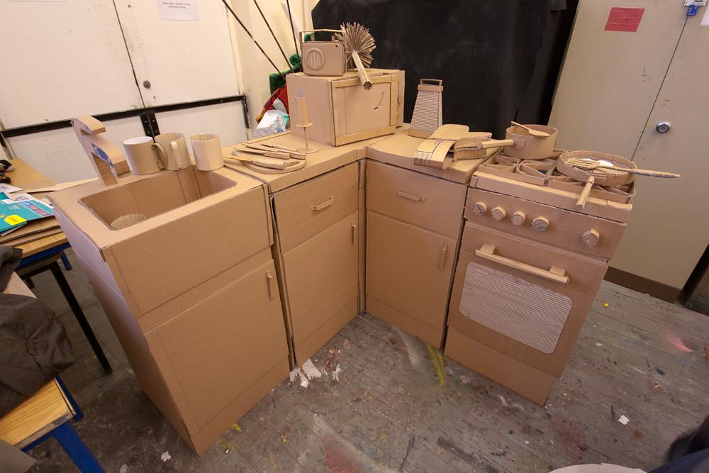 cardboard kitchen  Part of a set building workshop for