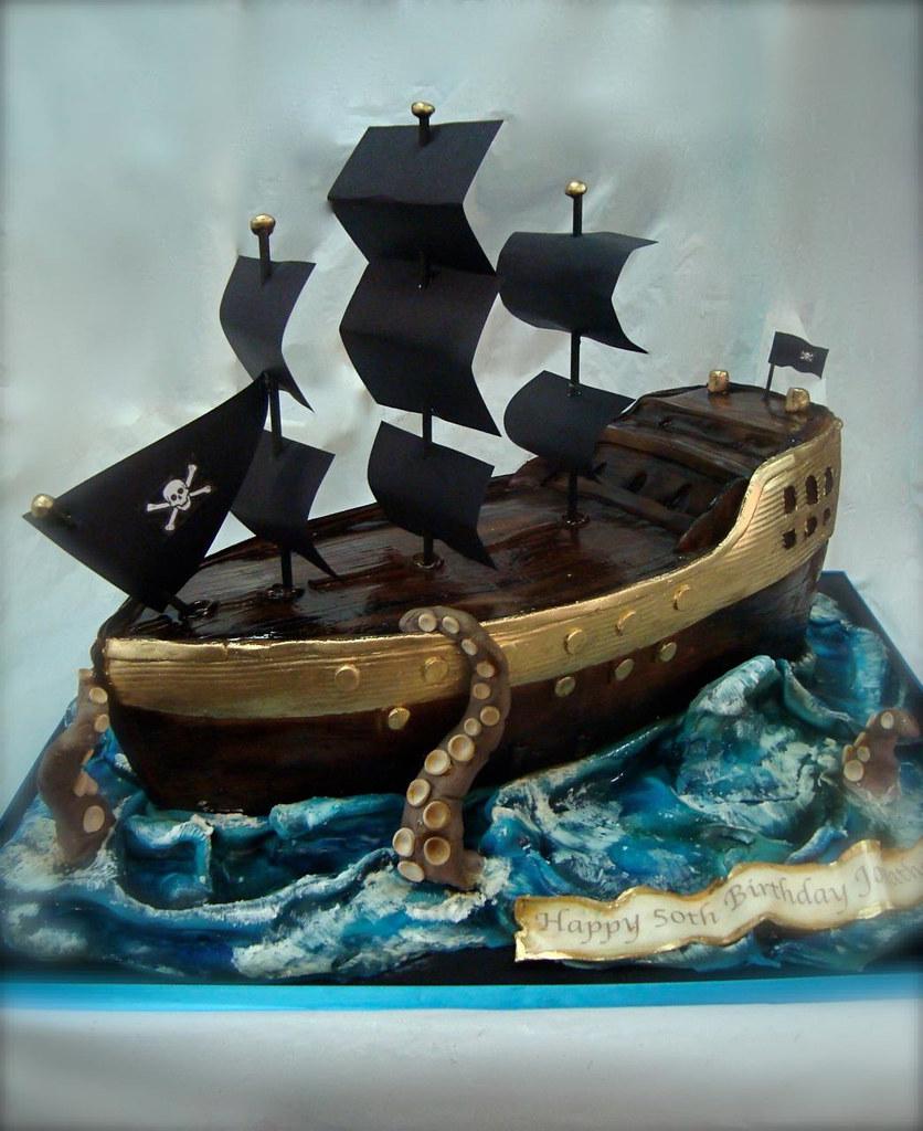 pirate shipkraken attack cake  really enjoyed this one