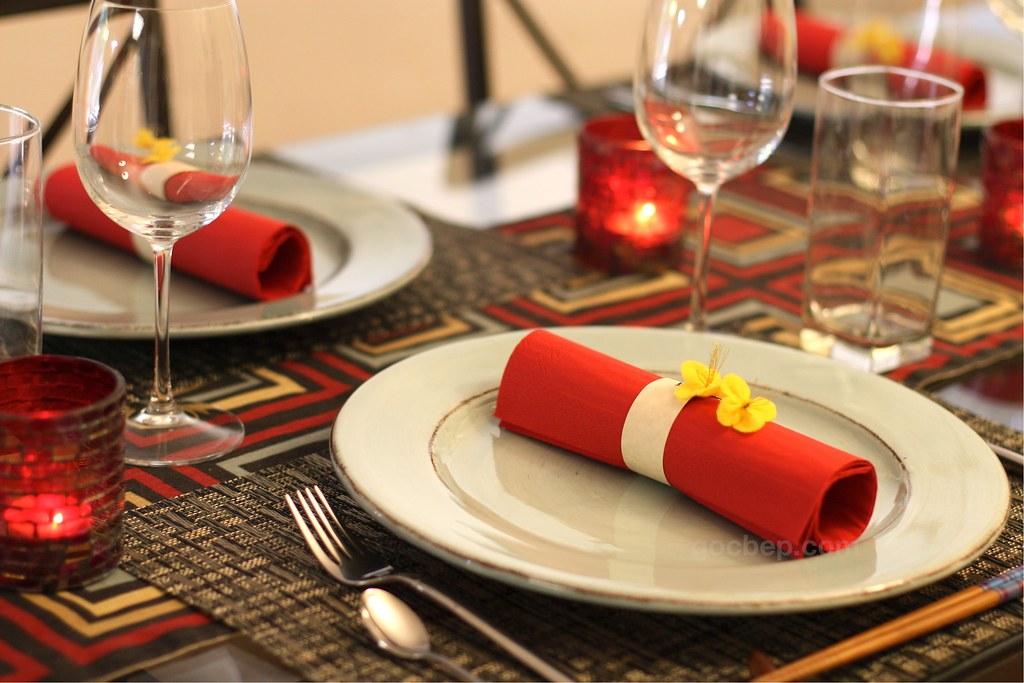 Lunar New Year Dinner Table Setting DIY Felt Yellow