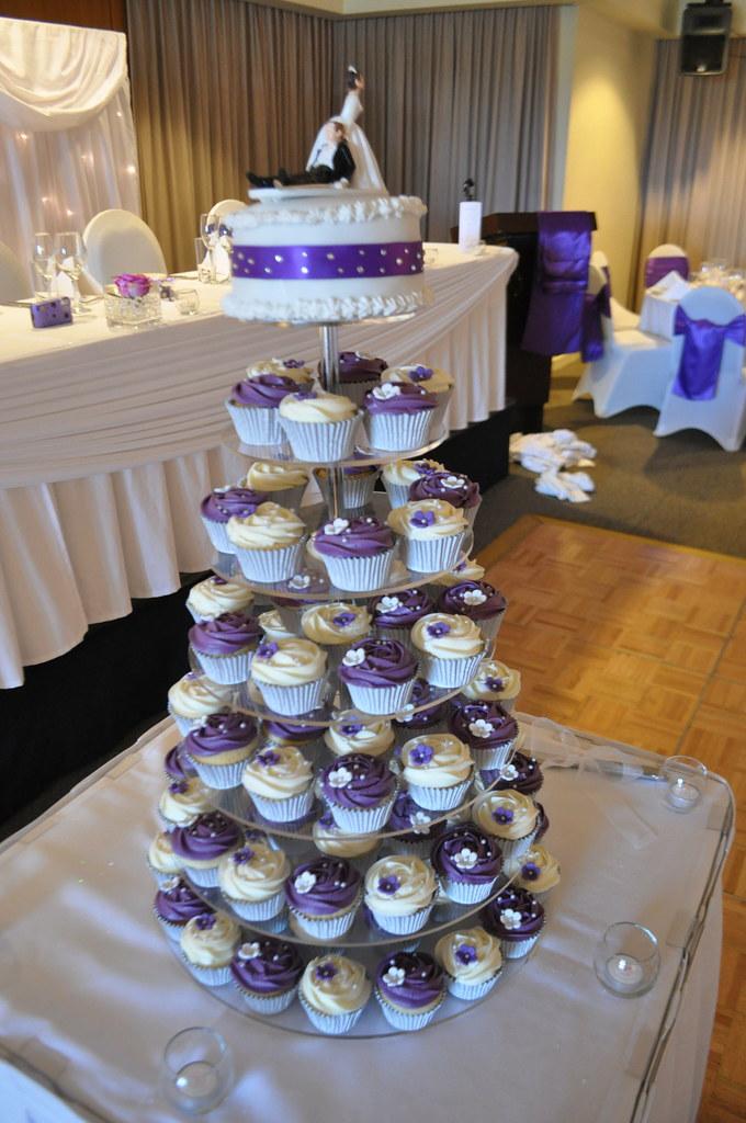Purple and white wedding cupcakes  Vanilla vanilla
