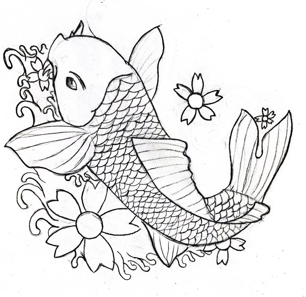 Line Drawing Koi Carp