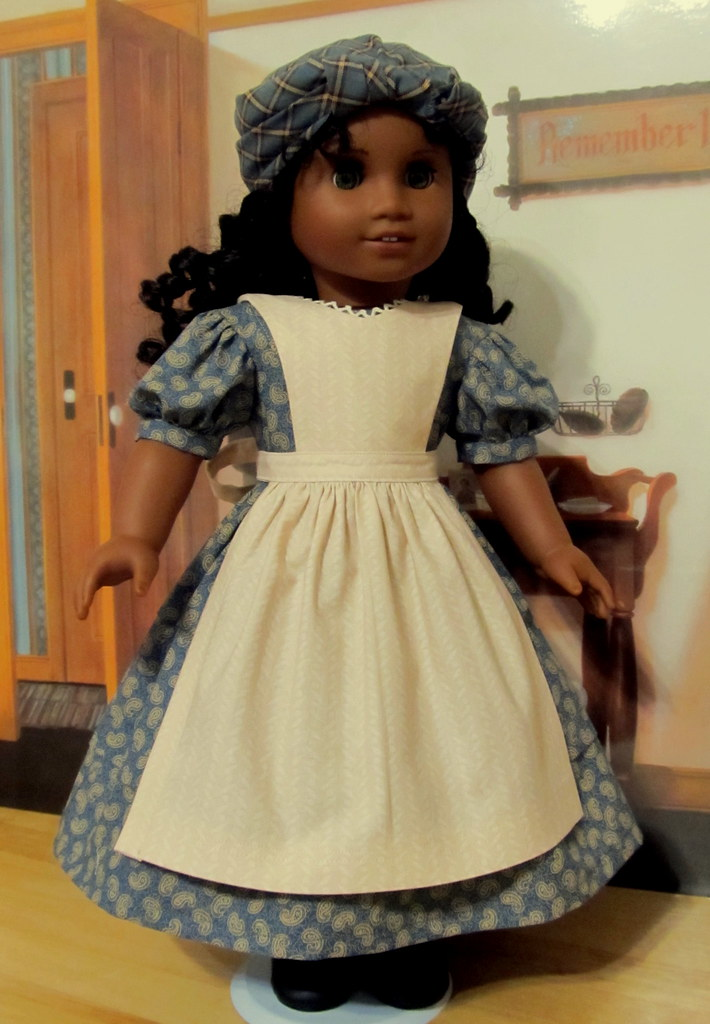 1853 3pcOrphanage Outfit Gown Apron and Kerchief  Tign