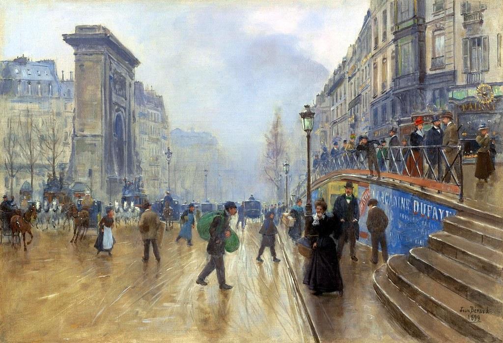 Jean Beraud  The Boulevard SaintDenis in Paris 1899