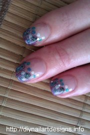blue and purple polka dot french