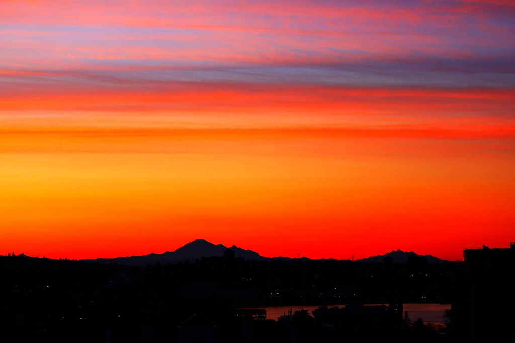 Breathtaking sunrise colours over Mt Baker  Click to view i  Flickr