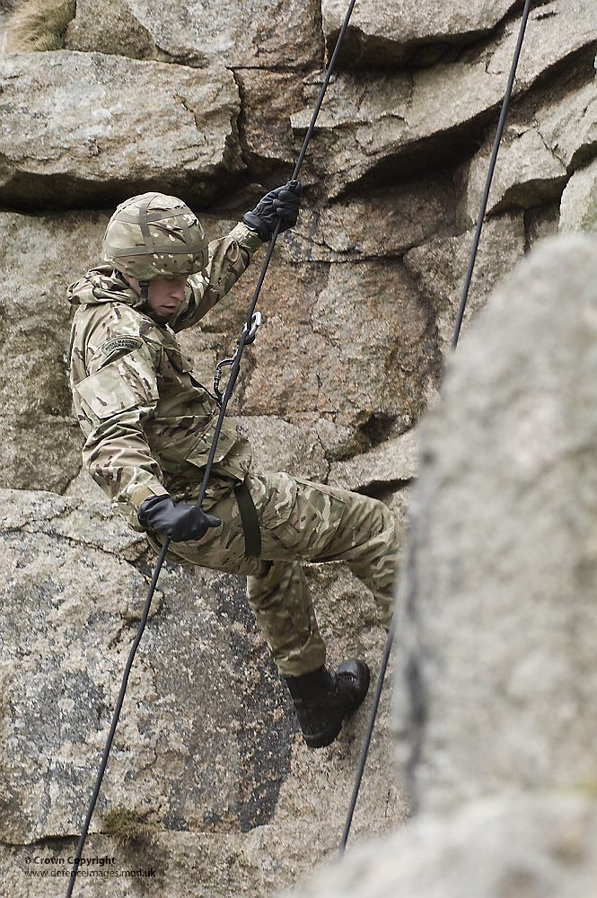 Royal Marines Abseiling During Exercise  A Royal Marine