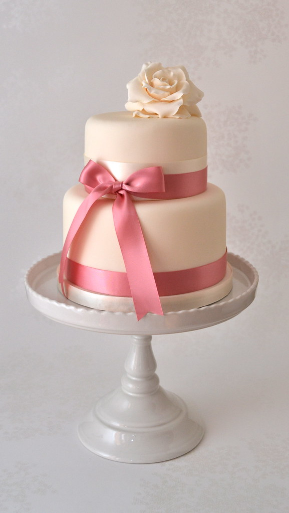 Two Tier Vintage Ivory Rose Cake  Two tier wedding