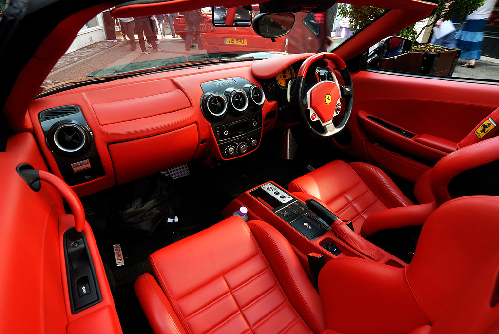 Red Leather Interior Of Ferrari F430 One Of The Soft Top