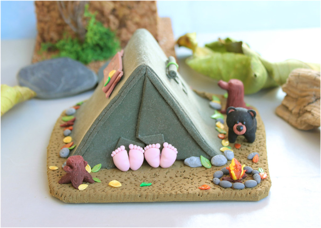 Camping Wedding Cake Topper With Black Bear Unique