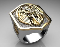 Unique Mens Ring Eagle Shield Ring Sterling Silver and Gol ...