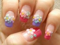 Spring flower nail art | My own nails Base gel Colored gel ...