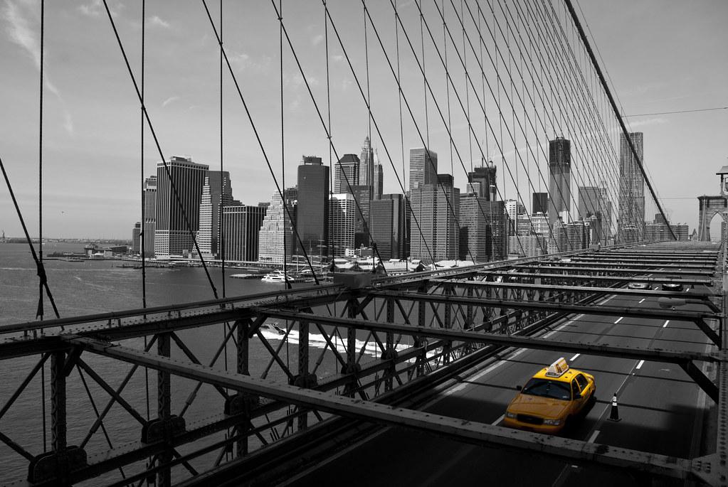 New York City  Yellow Cab on Brooklyn Bridge  Black and   Flickr