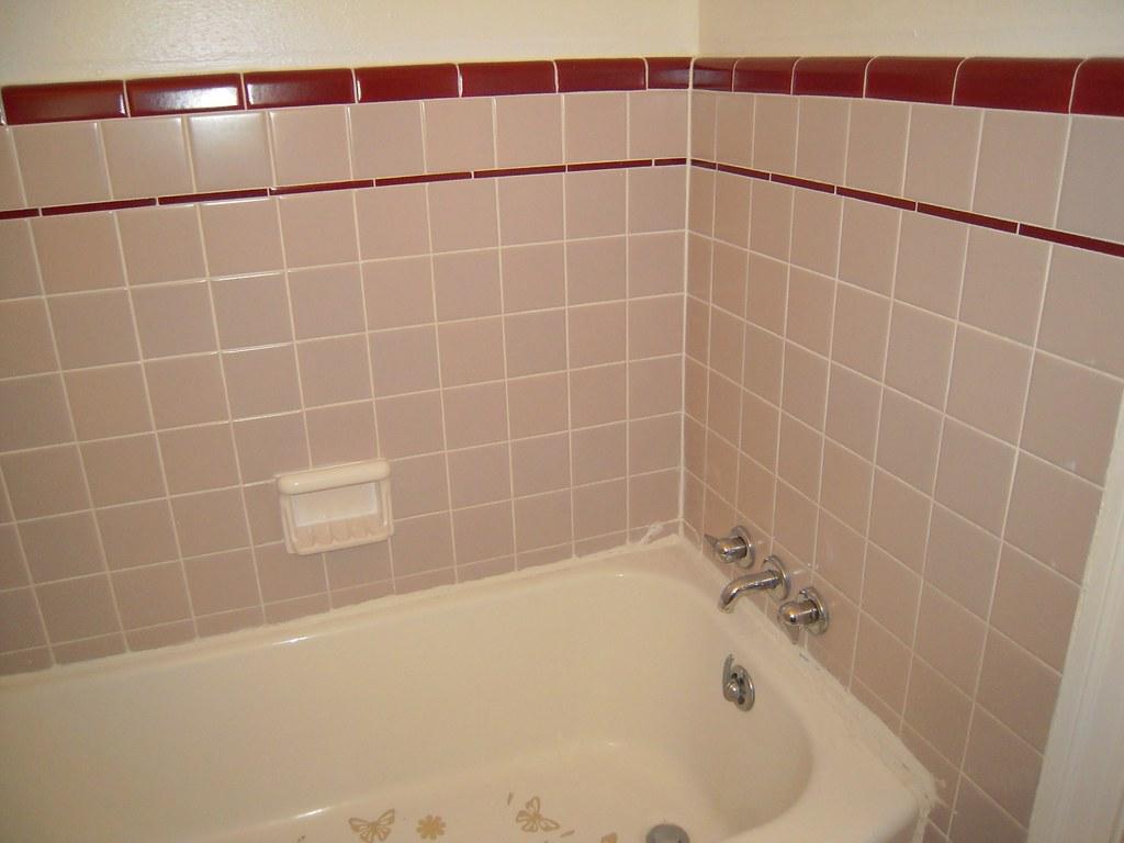Grey Burgundy Bathroom Tub  Bathroom 2 at recent estate sa  Flickr