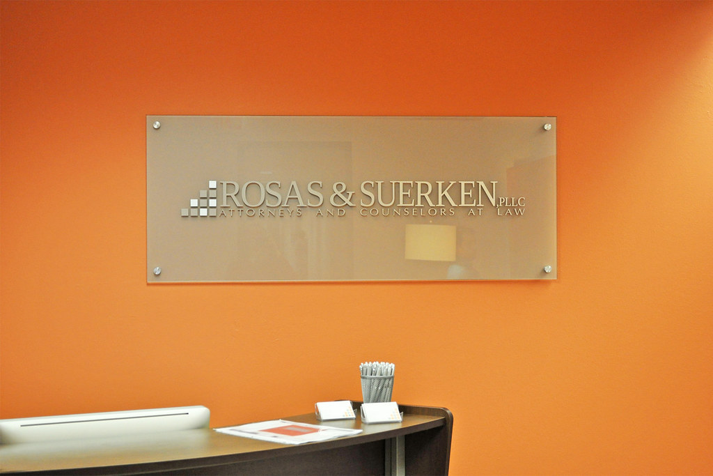 Classic EtchedGlass Office Reception Sign with Brushed an