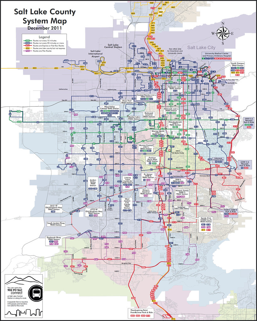 Salt Lake City Bus Map Color Coded To Show Bus Frequency