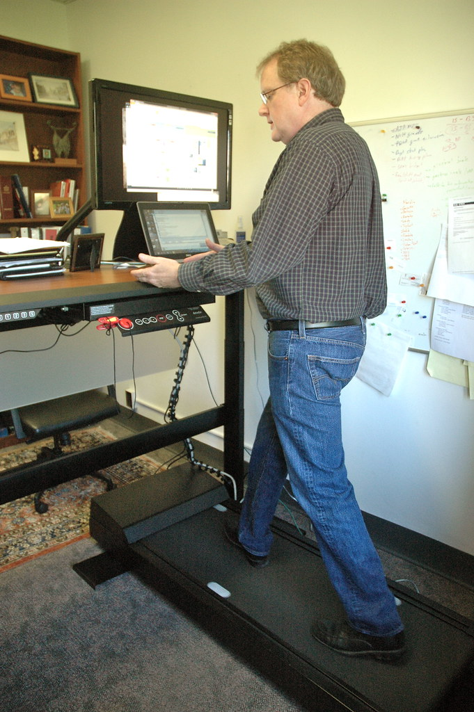 MU professor walks at work pushes treadmill desks  Flickr