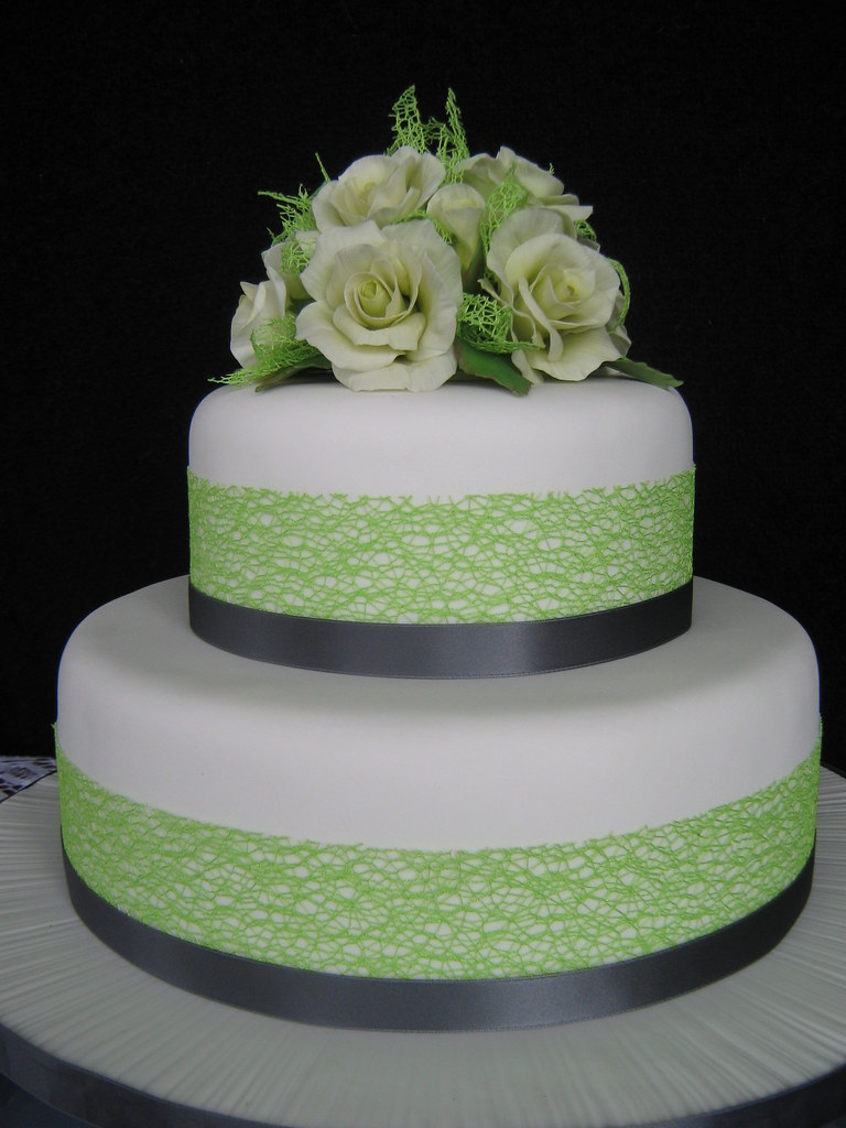 Lime and charcoal coloured wedding cake with pale creamy l  Flickr