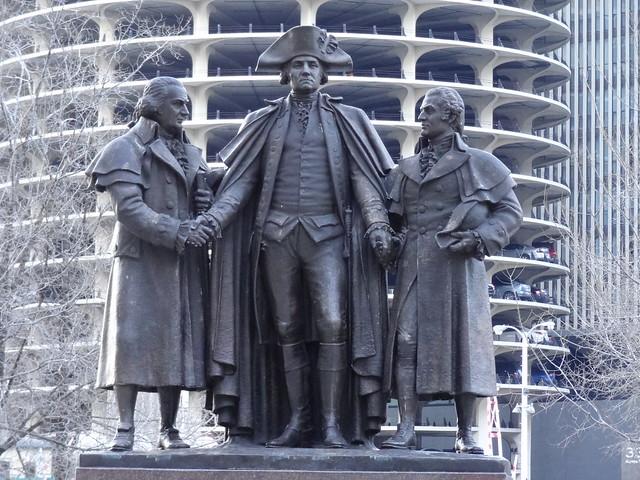 Robert Morris, George Washington and Haym Salomon Statue