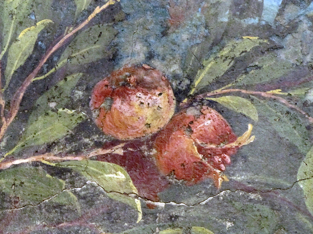 Painted Garden Villa of Livia detail with pomegranate