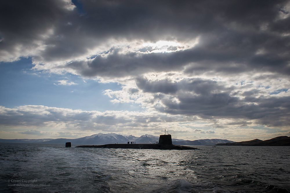 Royal Navy SSBN HMS Victorious nears Faslane  Vanguard