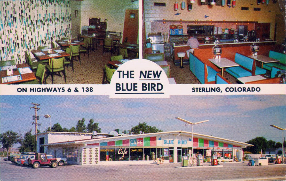 The Blue Bird Cafe postcard - 1602 South 6th Avenue, Sterling, Colorado U.S.A. - 1950s