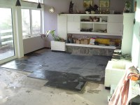 Living room slate floor installation | Under floor heating ...