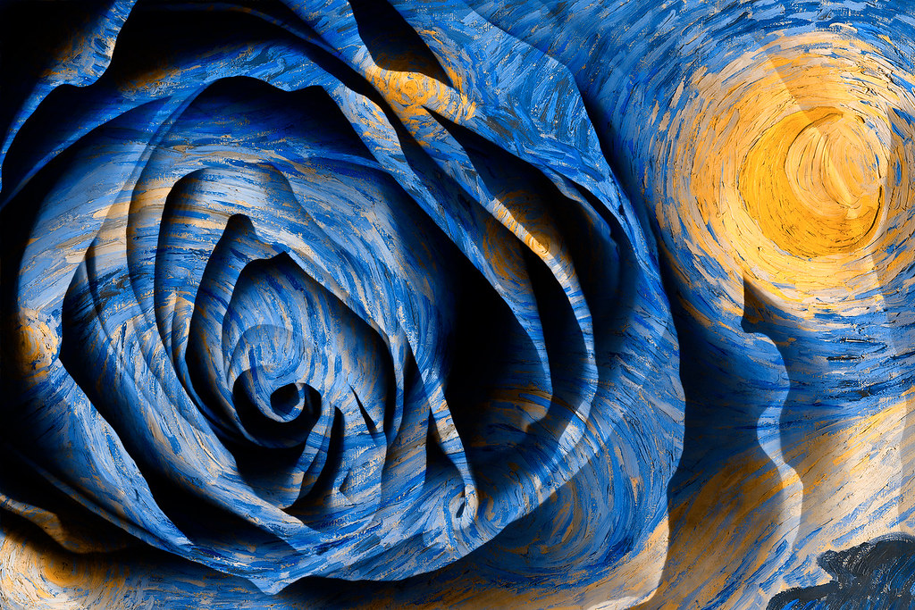 3d Wallpaper For My Pc Starry Night Rose Hybrid Oil Amp Hdr Mixed Media
