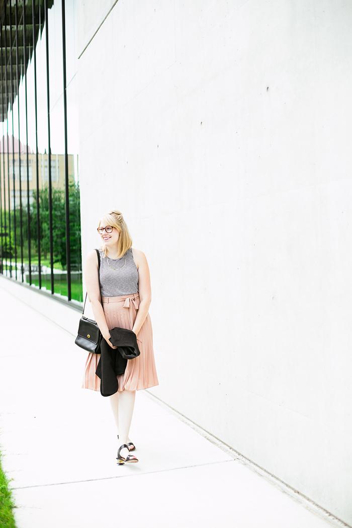 black blazer striped tank blush midi skirt7